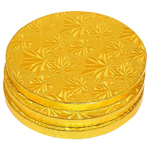 Cake Boards Rounds - 3 Piece Gold Foil Pizza Base Disposable Drum Circles, Corrugated Paper Board, FDA Approved, 8 Inches in Diameter