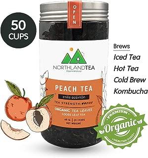 Organic Peach Black Tea - Loose Leaf - Hot Tea, Iced Tea with Honey, Lemon, Soda, Maple Syrup and Etc.- Freshest production in every month - 60g (2.11oz) Northlandtea