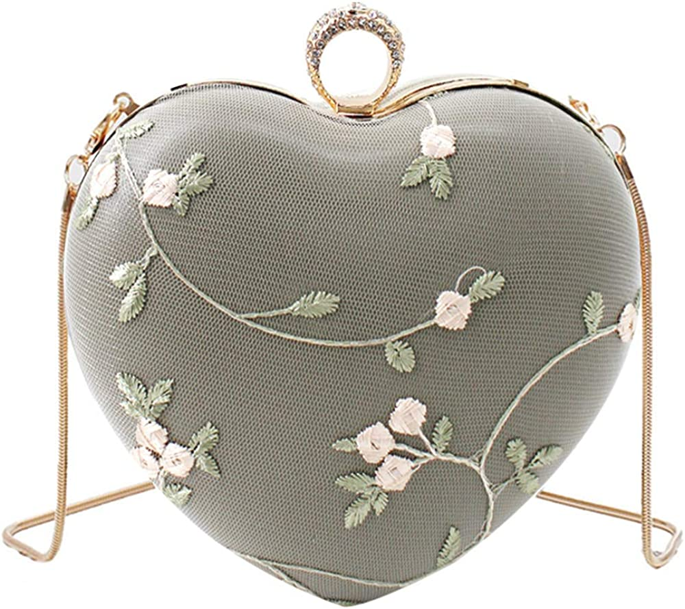 YAOSEN Women Heart Shape Evening Max 90% OFF Clutch Lace Floral Translated Bag Chain Ha