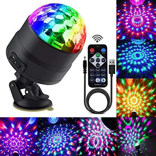Discokugel LED Party Lampe mit 4M USB Kabel Discolicht, RGBP 7 Farbe Partylicht 360° Drehbares Discolampe mit Fernbedienung für Halloween Weihnachten Kinder Party