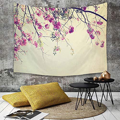 Tapestry,Hippie Tapiz,tapiz de pared con decoración para el hogar,Naturaleza, flores florales Ramas Sakura Blooms Flores de cerezo Spring ,para picnic Mantel o Toalla de Playa redonda 180 x 230 cm