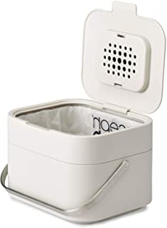 Joseph Joseph 30015 Intelligent Waste Stack Stackable Compost Bin with Odor Filter Food Waste Caddy, 1-gallon, Off-White