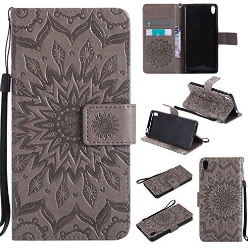 LMAZWUFULM Hülle für Sony Xperia E5 (F3311 / F3313) 5,0 Zoll PU Leder Magnetverschluss Brieftasche Lederhülle Sonnenblume Prägung Design Stent-Funktion Ledertasche Flip Cover für Sony E5 Grey