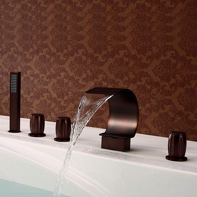 Snongh Tap Badezimmer-Waschbecken, Badewanne Faucet Sitting Fünf-Loch-Wasserfall-Badewanne Faucet Set Für Hotels, Restaurants,Metallic