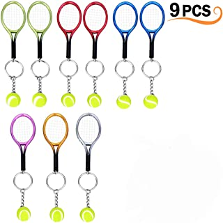 9Pcs Mini Tennis Racket Keychain Key Ring, Creatiee Fashionable Alloy Tennis Ball Split Ring, Sport Style Split Keychain Sport Lovers Gift Prize Set - Exquisite & Lightweight(Assorted Colors)