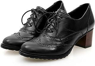[ZUYEE] (ズイェ) レディース オックスフォード ブーティー ヒール レースアップシューズ ウイングチップ おじ靴 美脚
