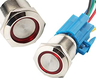 bianco 1PCS metallo a pulsante interruttore 12/V Angel Eye LED impermeabile anello Luminated momentaneo pulsante interruttore