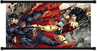 Wonder Woman vs Superman Comic Fabric Wall Scroll Poster (32 x 17) Inches