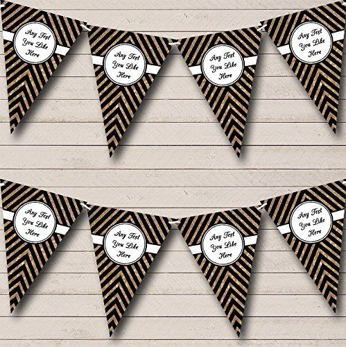 zwart en koper gouden glitter bruiloft verjaardag Bunting partij Banner decoratie slinger Large