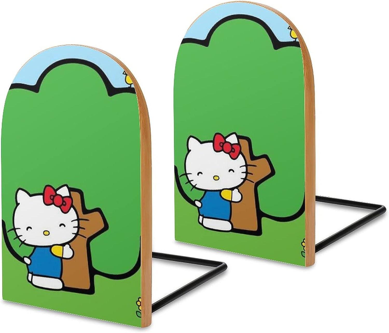 KRISMARIO Long-awaited Hello KittyGreen Tree 2pcs Heavy Bookends M Wood Max 50% OFF Logs