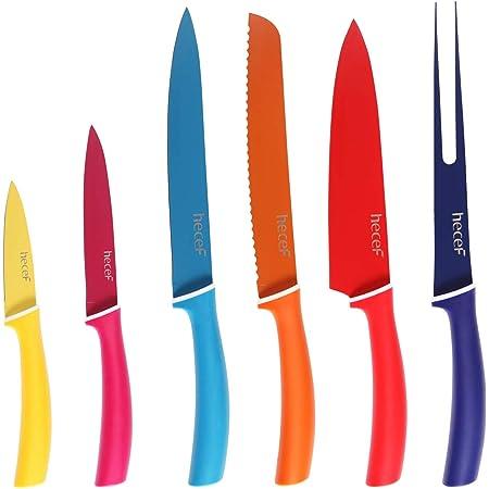 Hecef Couteau Multicolore (6 Pièces), Extrêmement Tranchant, Antiadhésif, Lame en Inox avec Manchon de protection (Enduit de couleur pure)