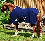 AMKA - Coperta in pile per cavalli, colore: Blu scuro con cinghie incrociate
