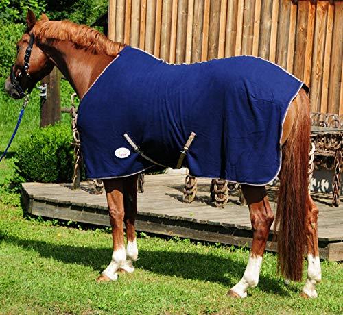 AMKA Manta de forro polar para caballos, color azul oscuro con correas cruzadas