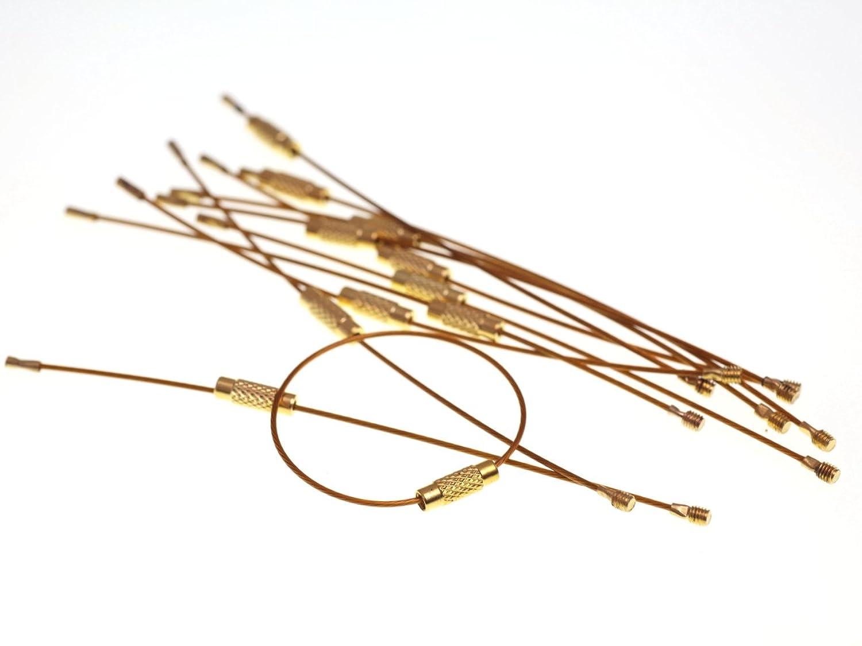 紗や工房 ワイヤーキーリング約10個set ゴールド ネジ式 キーチェーン キーホルダーパーツ 金具 クラフトパーツ 手芸材料 雑貨 部品 副資材