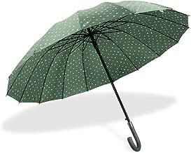 J handle large Umbrella Polka Dot 16 Ribs Quick-drying Automatic Open Windproof Waterproof Stick Umbrellas for Men Women Gifts,Green