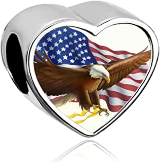 LilyJewelry Independence Day Freedom Courage USA Flag Photo Heart Charm Beads For European Bracelets