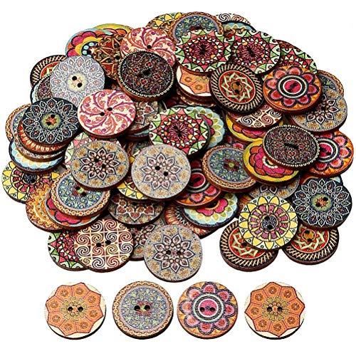 nuoshen 100 Stücke Vintage Knöpfe, 25mm Knöpfe Bunt Knöpfe Aus Holz Handmade Knöpfe Vintage Rund Knopf Knöpfe mit 2 Löcher zum Basteln und Nähen von Dekorationen