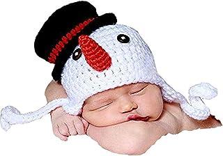 OULII Recién nacido fotografía foto Prop Crochet tejido Crochet disfraz muñeco de nieve sombrero Caps de decoración de la ...