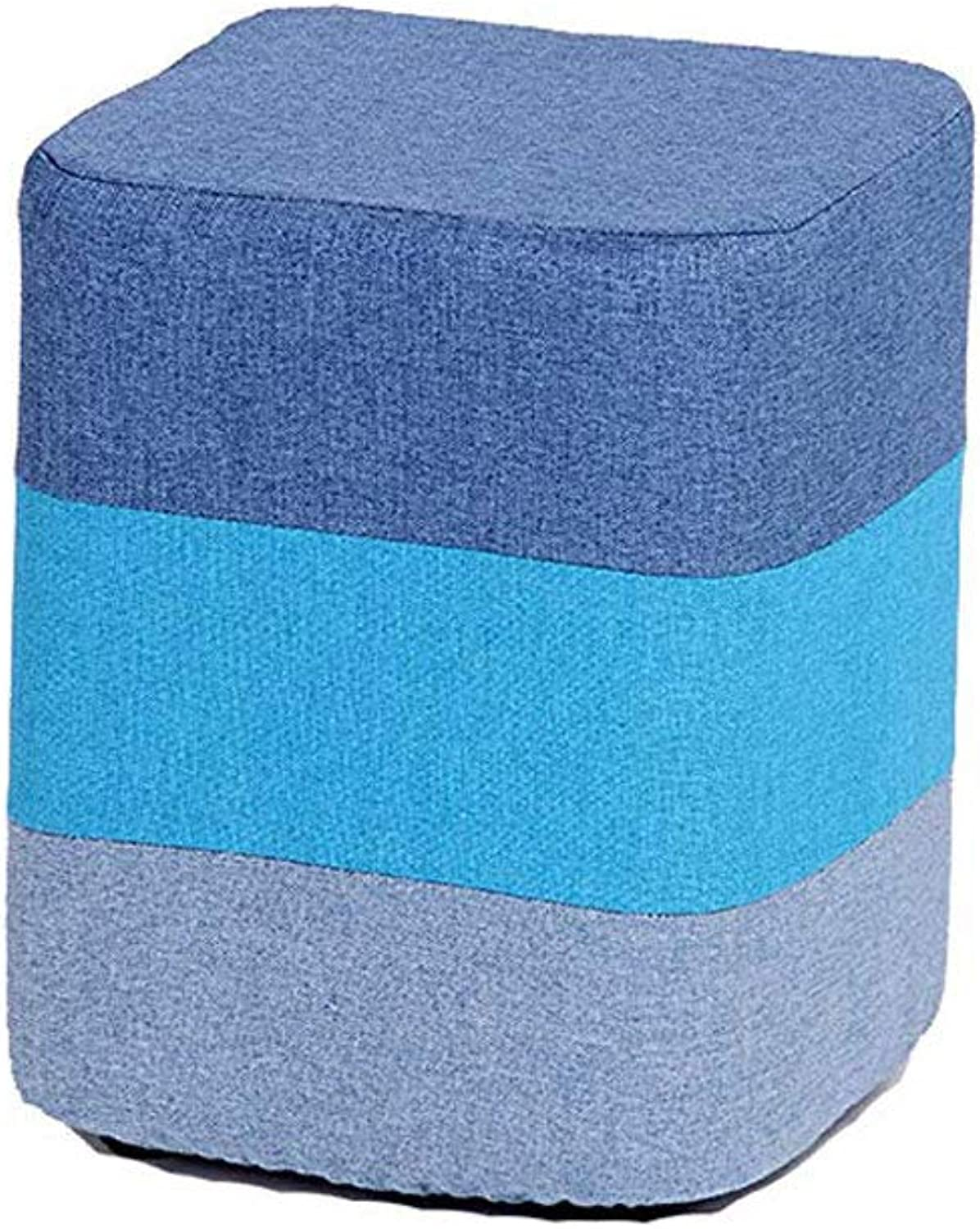 Footstool, Square Wooden Padded Footstool Osman Stool Detachable Fabric Sofa Bench shoes Bench (color   bluee)