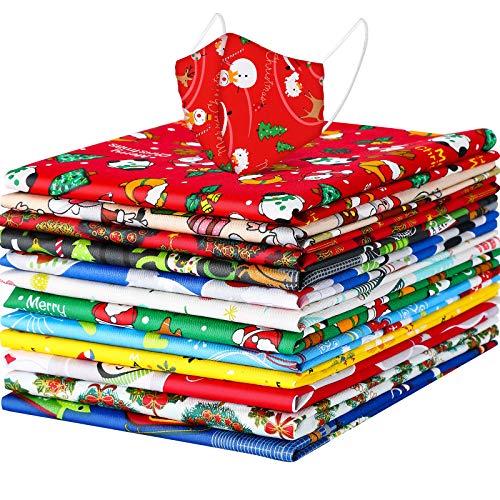12 Pezzi Fasci di Tessuto di Cotone Natale Tessuto Pretagliato con Stampa di Babbo Natale Tessuto...