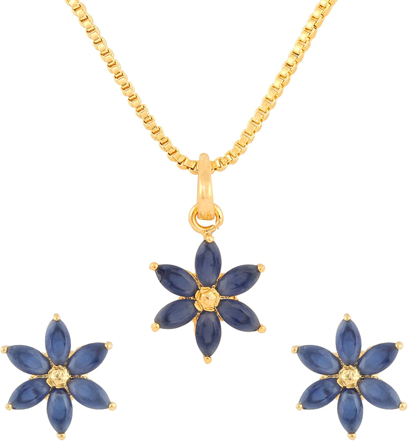 Ethnadore 14K Gold Plated Floral Cubic Zirconia Pendant Necklace and Earrings Jewelry Set for Women Girls