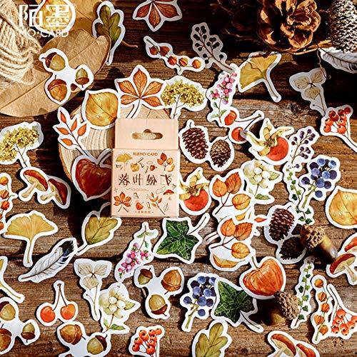 Preisvergleich Produktbild PMSMT 46Stücke / Packung Fallende Blätter Kreatives frisches Tagebuch Papieretikett Versiegelungsaufkleber Basteln und Scrapbooking Dekoratives Briefpapier