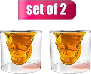 Unique Transparent Skull Shot Glass for Whiskey, Vodka, Cocktail Double Layer Halloween Party Design (2pcs)