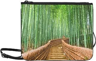Kyoto Japan Bamboo Forest Road Green Plants Tree Pattern Custom High-grade Nylon Slim Clutch Bag Cross-body Bag Shoulder Bag