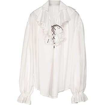 maylynn XXL//XXXL Camicia da Pirata Medievale con Volant in Cotone Bianco