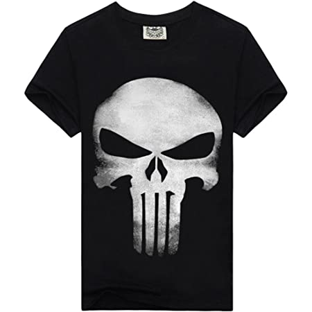Kairuun Hombre Camisetas Divertidas Calavera Hip-Hop T-Shirts Verano Punk Cráneo Manga Corta tee Tops