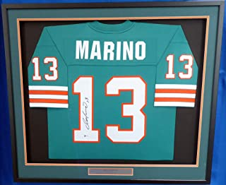 Miami Dolphins Dan Marino Autographed Framed Mitchell & Ness Teal Jersey Size XL Beckett BAS