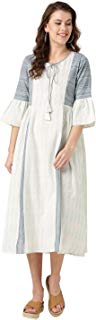 Jaipur Kurti Women Geometric A Line Cotton Flex & Handloom Dress (Off-White)