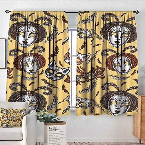 Elliot Dorothy Pattern Curtains Masquerade,Venetian Style Paper Mache Face Mask with Feathers Dance Event Theme,Mustard Brown White,Rod Pocket Curtain Panels for Bedroom & Kitchen 63