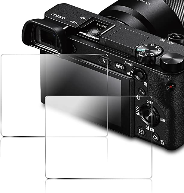 Protector de Pantalla para Sony Alpha DSLR NEX-7 NEX-6 NEX-5 A6000 A6300 A5000 Cámara AFUNTA Vidrio Templado 9H Cubierta (Paquete de 2)