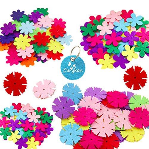 Carykon 3 Styles Craft Felt Flowers, Assorted Color, 160 Pcs