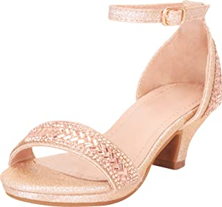 Cambridge Select Girls` Open Toe Single Band Ankle Strap Crystal Rhinestone Low Heel Sandal (Toddler/Little Kid/Big Kid)