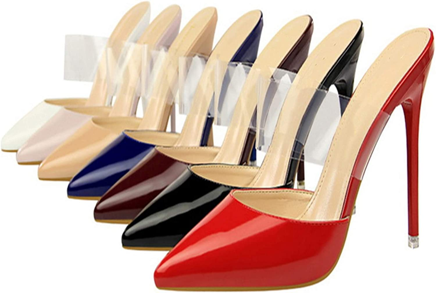 Richealnana Women's Pointy Closed Toe High Stiletto Heels Clear Ankle Straps Pumps Slide Backless Sandals