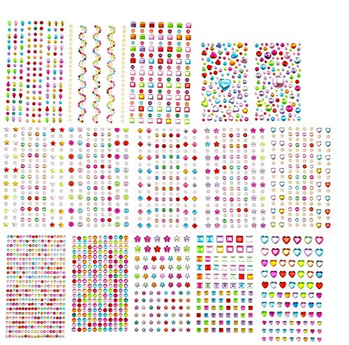 EKKONG 15 Hojas 2081 Piezas Diamantes Autoadhesivas,Pegatinas de Diamantes de Imitación,Pegatinas Brillantes, Adhesivas Pegatinas de Gemas para DIY, Artesanía, Uñas, Cara (15 Hojas)