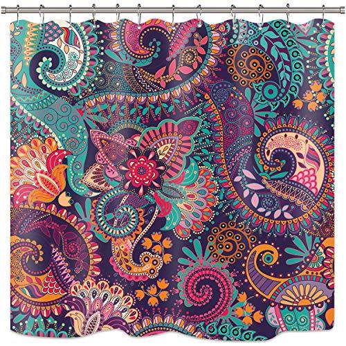 JOOCAR Design-Duschvorhang, Mandala, indisches Boho-Paisley, violett, Blumenmuster, Yoga, abstrakt, Tribal, bunt, wasserdichter Stoff, Badezimmer-Deko-Set mit Haken