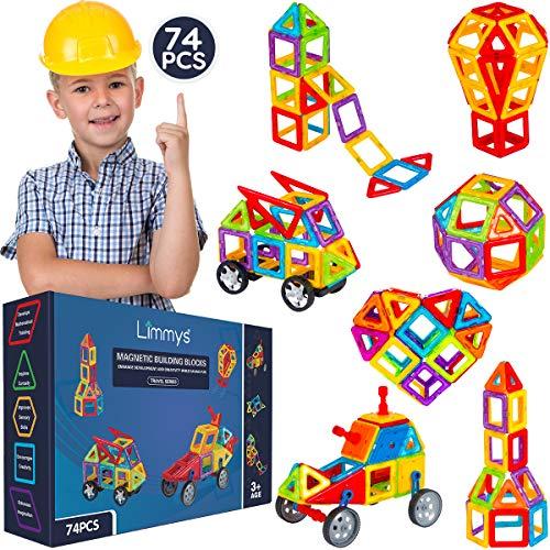 Limmys Magnetische Bausteine – Magnetspielzeug ab 3 Jahre für Jungen und Mädchen – Pädagogisches Naturwissenschaftliches Spielzeug 74-teilig mit Ideenheft
