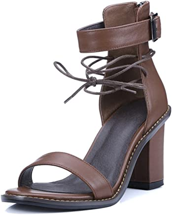 1bbb5a514c6 VASHOP Woman Open Toe Chunky High Heel Ankle Strap Lace up Sandals
