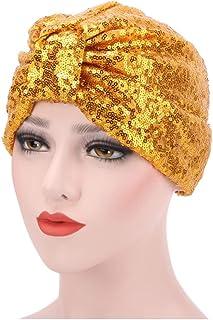33a0377805963f Bolley Joss Glitter Sequin Pleated Turban Stretchy Chemo Sleep Hat Soft  Indian Headwear Cap for Women