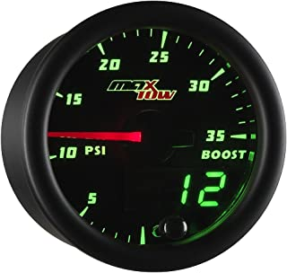 MaxTow Double Vision 35 PSI Turbo Boost Gauge Kit - Includes Electronic Pressure Sensor - Black Gauge Face - Green LED Illuminated Dial - Analog & Digital Readouts - for Trucks - 2-1/16