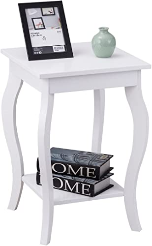 """Giantex End Table 16"""" W/Storage & Shelf Curved Legs Home Furniture for Living Room Accent Sofa Side Table Nightstand (1, White)"""