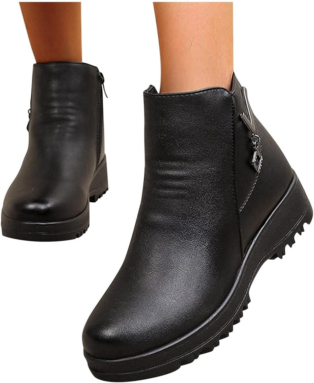 Olymmont Platform Wedge Heel Boots for Women Winter Snow Warm Fu