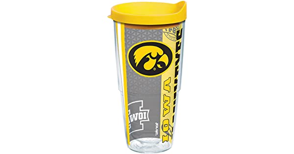 Clear Tervis 1220325 Iowa Hawkeyes College Pride Tumbler with Wrap and Yellow Lid 24oz