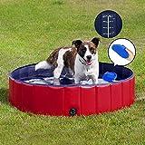 Forever Speed Piscina perros Gatos para perros grandes Portátil Bañera Baño de Mascota Plegable Piscina de Baño Doggy Pool 160 x 30 cm Rojo