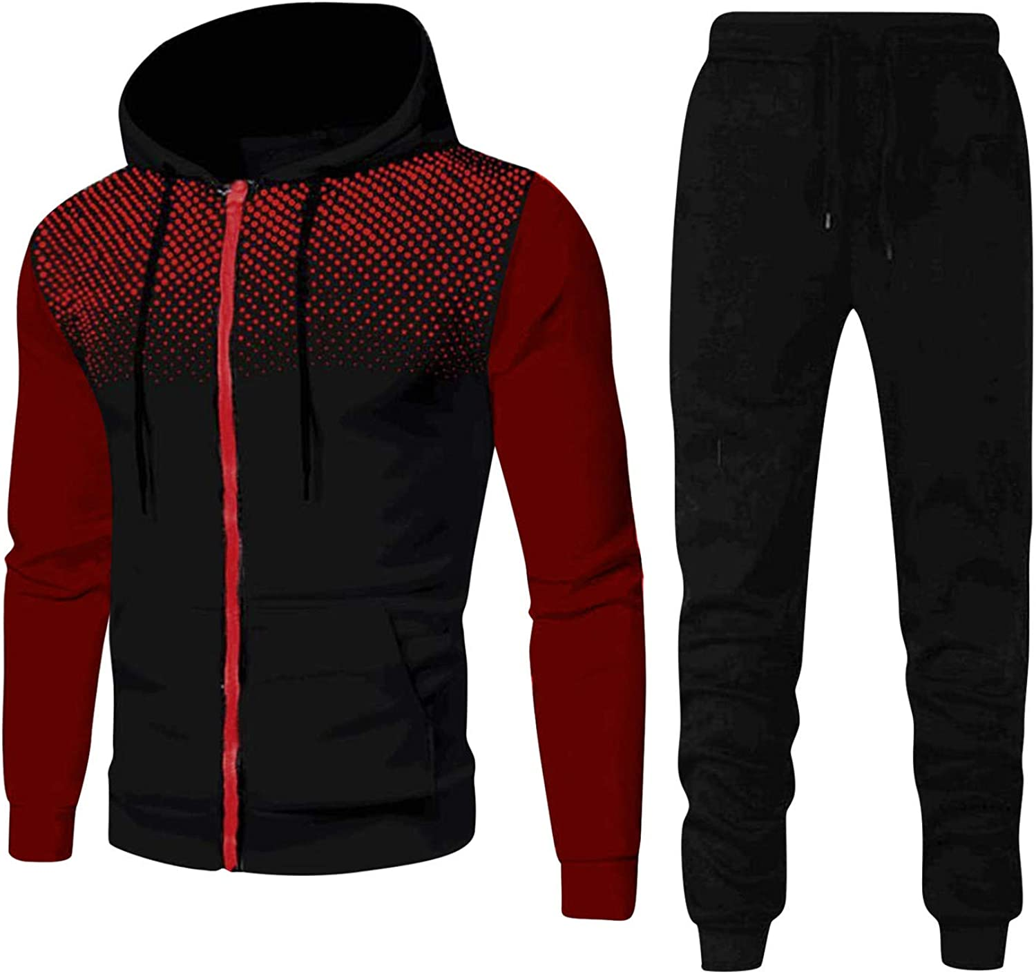 Aayomet Men's Tracksuit Casual Dots Joggers Hoodie Sweatshirt Pants Set Two Piece Sweatsuits Outfits Sports Suit Activewear