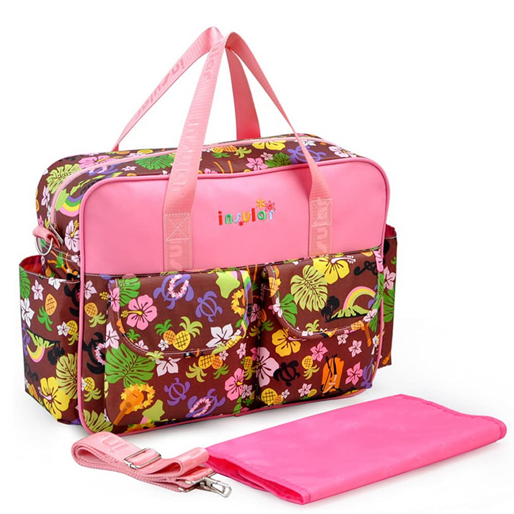 Diaper Bag, Large Capacity Nappy Bag Mommy Shoulder Bags Tote for Baby Care and Travel (Flowers 1)