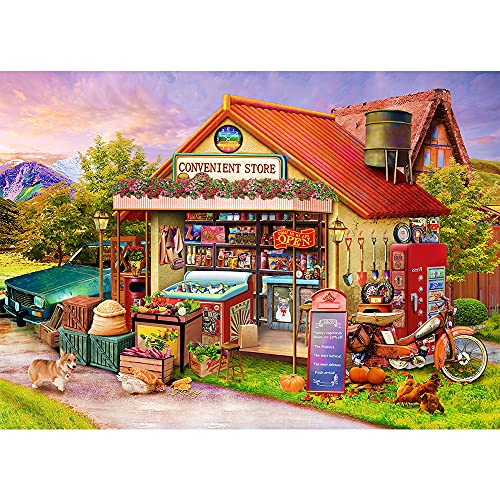Puzzles for Adults 1000 Piece Jigsaw Puzzles 1000 Pieces for Adults Country Shop Puzzle Educational Games Home Decoration Puzzle (27.56' x 19.69')